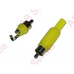 Wtyk RCA żółty plastik